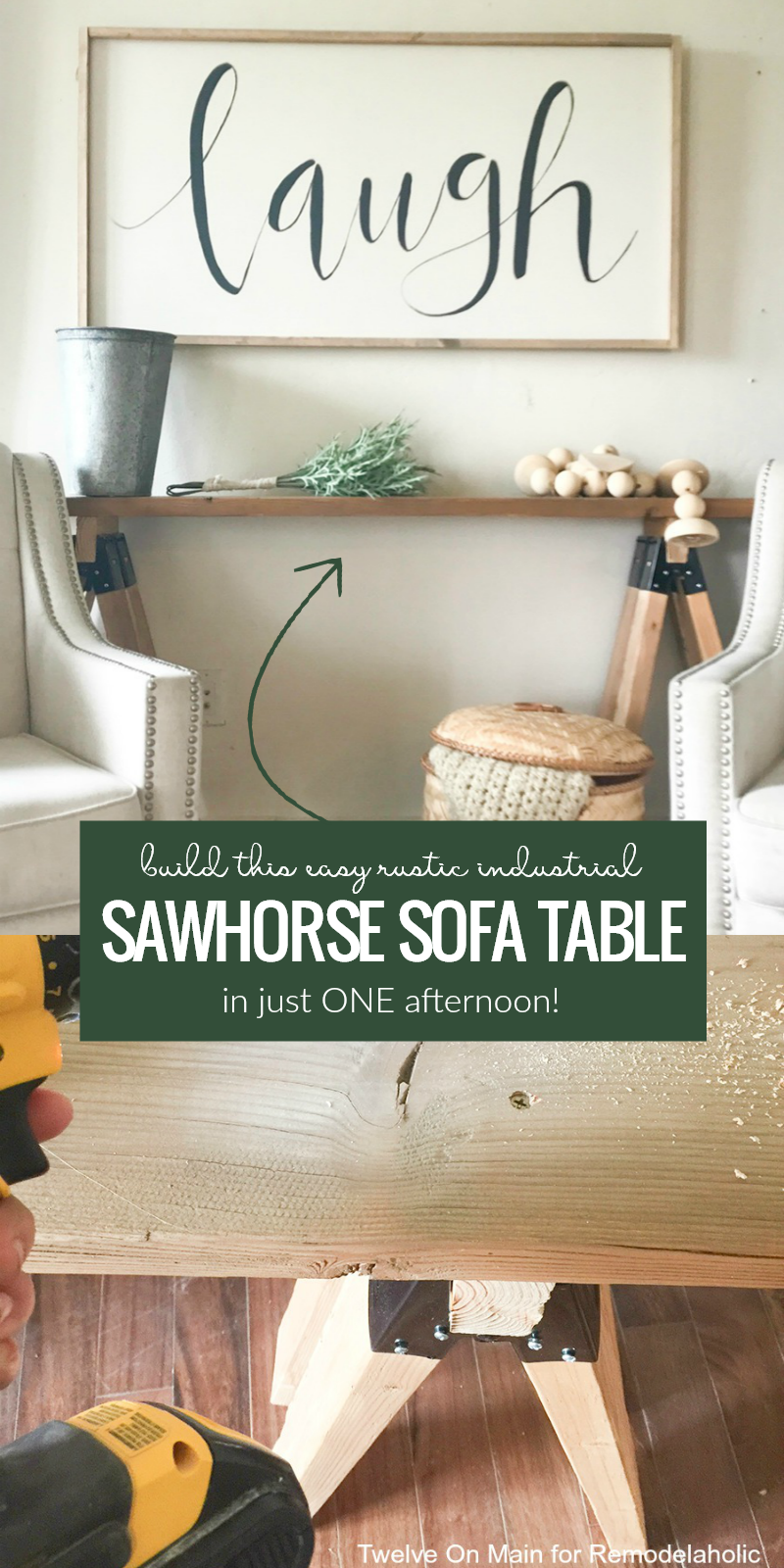 Albert blog how to build a sawhorse sofa table in an for Cost to build farmhouse