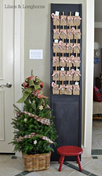 Burlap Advent Calender On Black Door