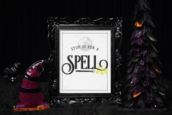 Easy Halloween Printable Decor, Stop In For A Spell, Magic Witch Printable, AD Aesthetic For Remodelaholic