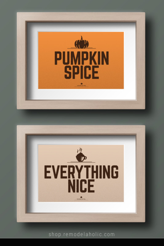 Fall Printable, Pumpkin Spice Everything Nice Set Of 2 Prints For Fall Gallery Wall, AD Aesthetic For Remodelaholic