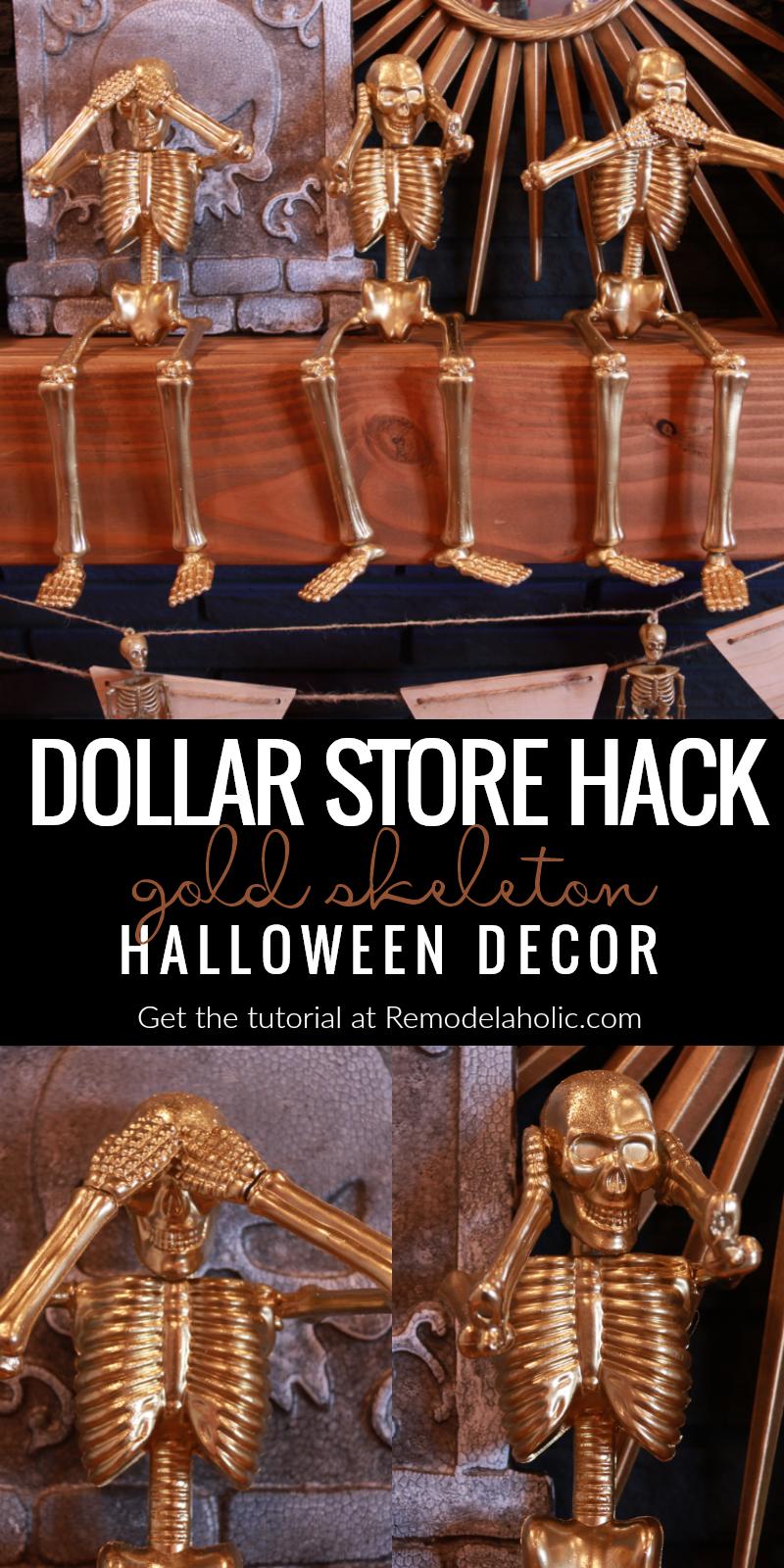 Remodelaholic | Cheap & Easy Halloween Decor: Dollar Store Gold Skeletons