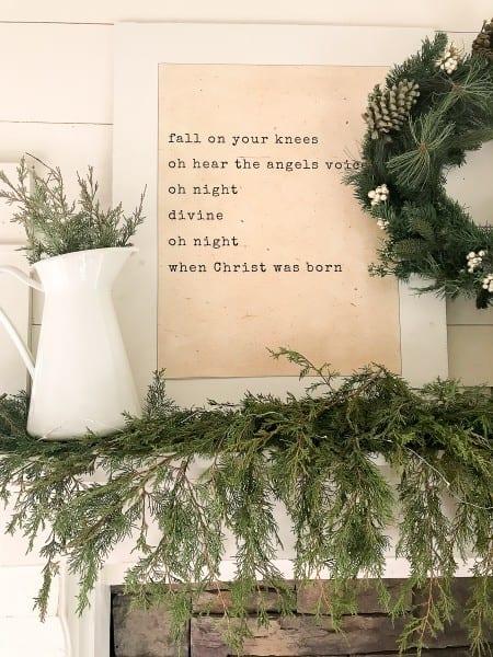 How To Style A Farmhouse Christmas Mantel