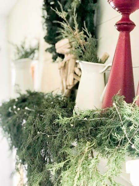 how to style a farmhouse christmas mantel - A Farmhouse Christmas
