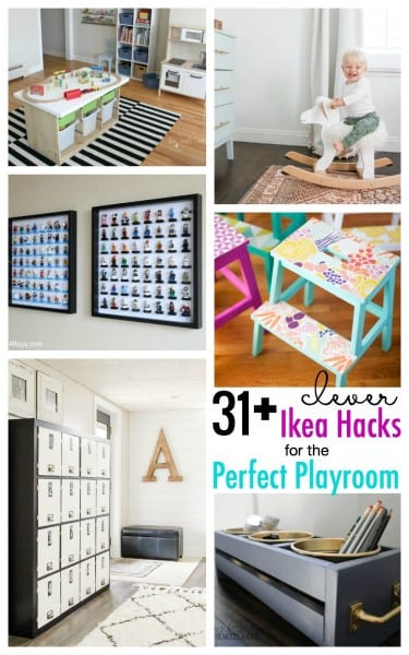 Time to makeover the playroom with these 30+ Clever IKEA Hacks for the Playroom featured on Remodelaholic.com