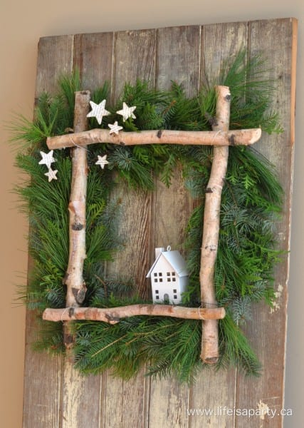 Rustic Birch Christmas Wreath 2