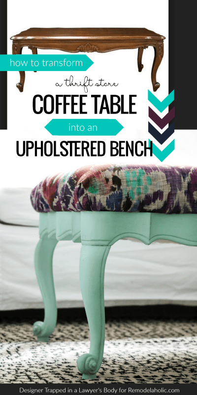 This upcycled coffee table turned upholstered bench will change the way you look at thrift store furniture! A beautiful makeover plus a smart tip for re-attaching upholstered bench seats when you can't use the original hardware.