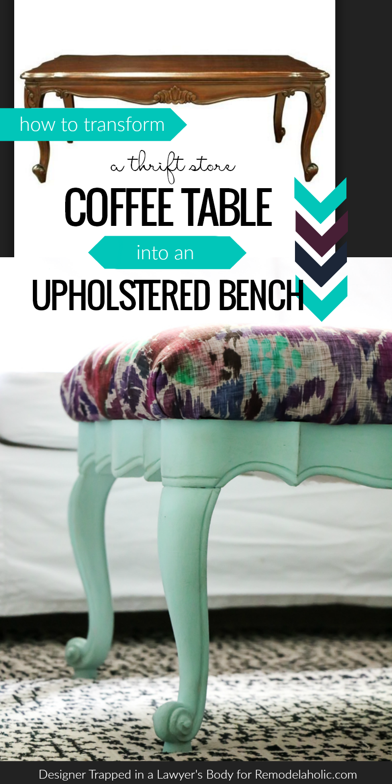 This Upcycled Coffee Table Turned Upholstered Bench Will Change The Way You Look At Thrift