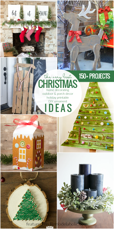 150 Christmas Ideas For Home Decor, Outdoor Decor, Porch Deocr, Holiday Printables, DIY Ornaments @Remodelaholic