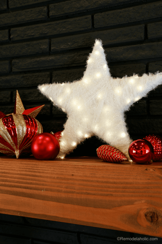 Christmas DIY Building Projects | Sparkly White Star with Lights | How to build 3 wooden Christmas stars from just ONE board, for about $12. These decorative wood stars are great for decorating for the Fourth of July and year round, too! | One board project | Christmas stars | Easy DIY building projects