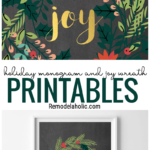 Christmas Printable Monogram Letter And Joy Wreaths, Instant Download, Remodelaholic