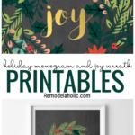 Christmas Printable Monogram Letter And Joy Wreaths, Instant Download, Remodelaholic