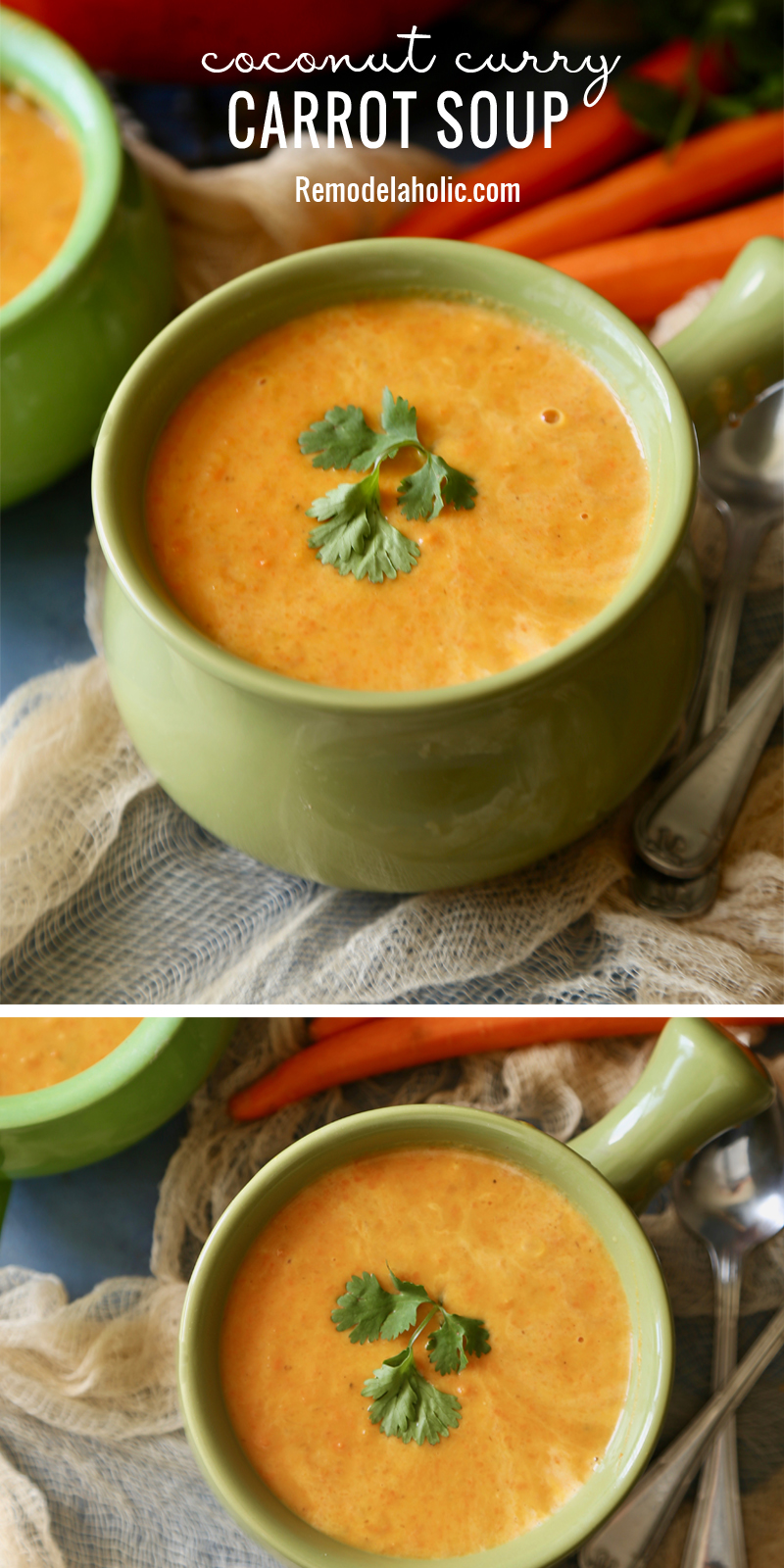 This versatile soup can be served warm or cold! Try the recipe for Coconut Curry Carrot Soup at Remodelaholic.com