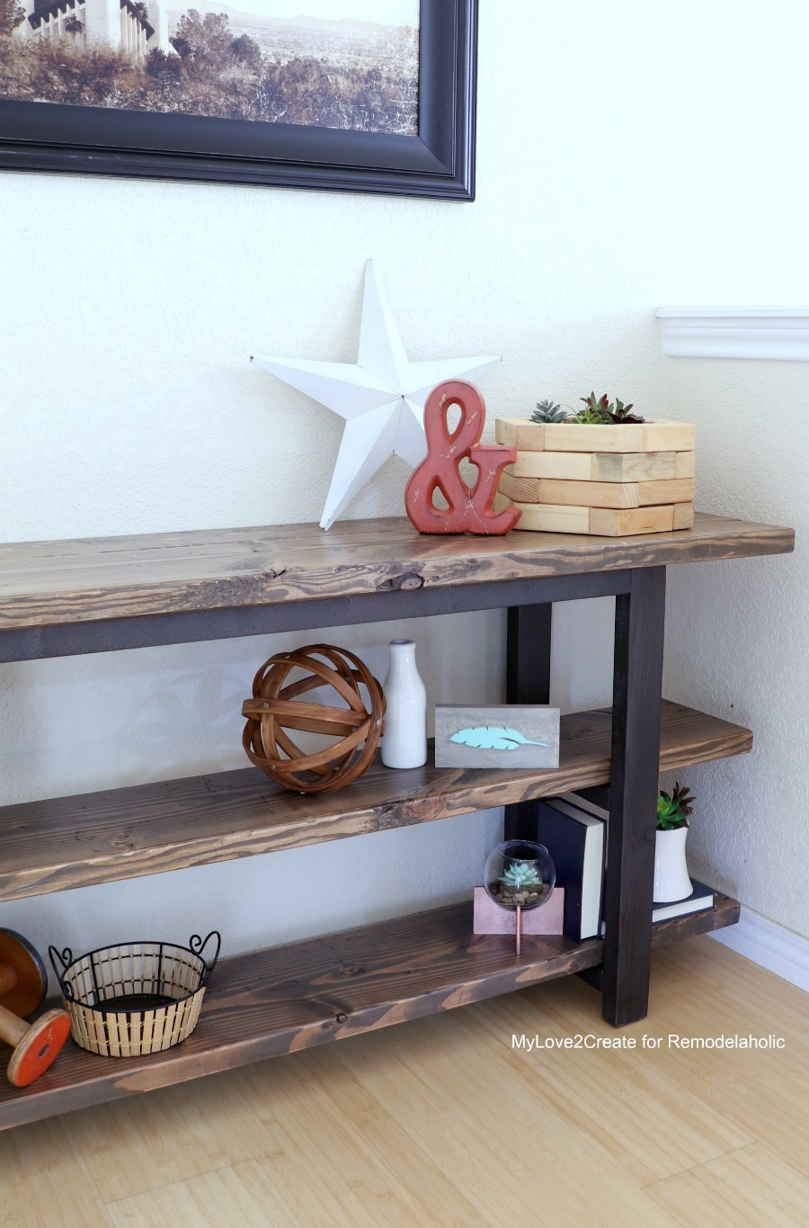 Remodelaholic pottery barn inspired modern rustic console table diy modern rustic console table easy diy console table mylove2create geotapseo Choice Image