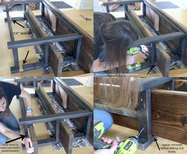 DIY Modern Rustic Console Table, How To Attach Shelves On Media Console, MyLove2Create