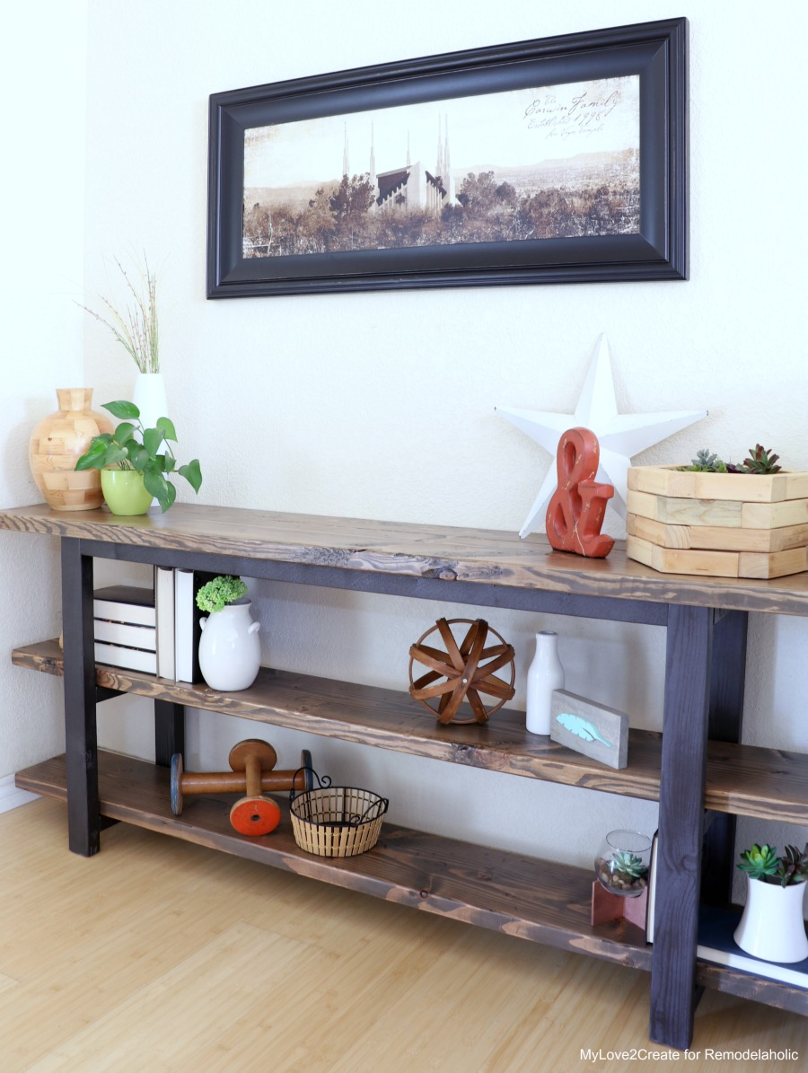 Remodelaholic pottery barn inspired modern rustic console table diy modern rustic console table how to make a console table mylove2create geotapseo Choice Image