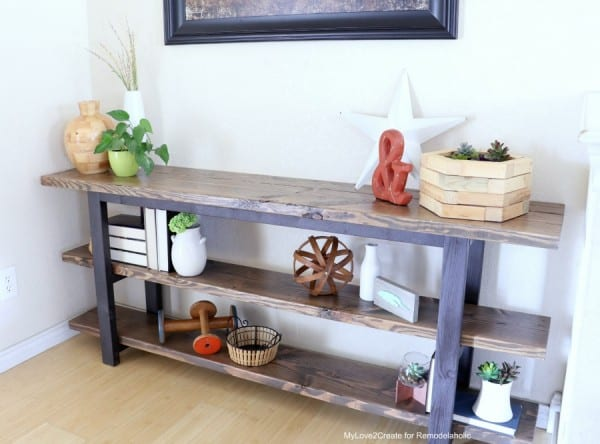 DIY Modern Rustic Console Table, Pottery Barn Inspired Griffin Console Table Plans And Tutorial, MyLove2Create