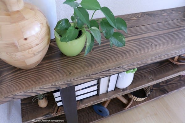 DIY Modern Rustic Console Table, Top Shot Of Diy Console Table, MyLove2Create