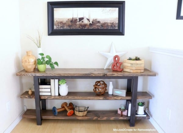 Pottery Barn Inspired Modern Rustic DIY Console Table Plans, MyLove2Create