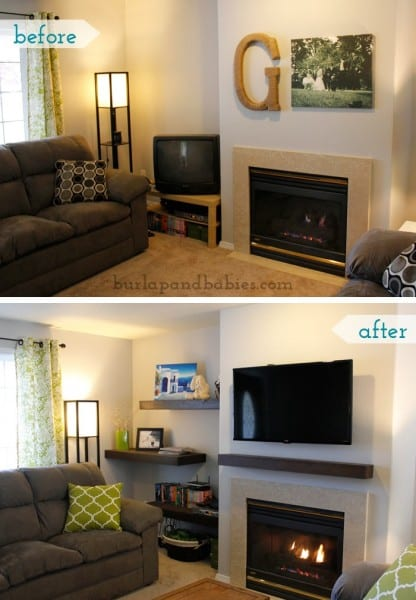 Floating Shelves Before And After