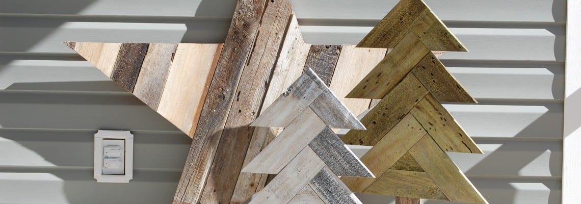 How to Build Rustic Herringbone Wood Christmas Trees