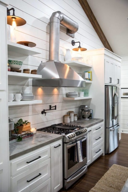 Go for an industrial farmhouse vibe by recreating the Fixer Upper Little Shack on the Prairie Kitchen