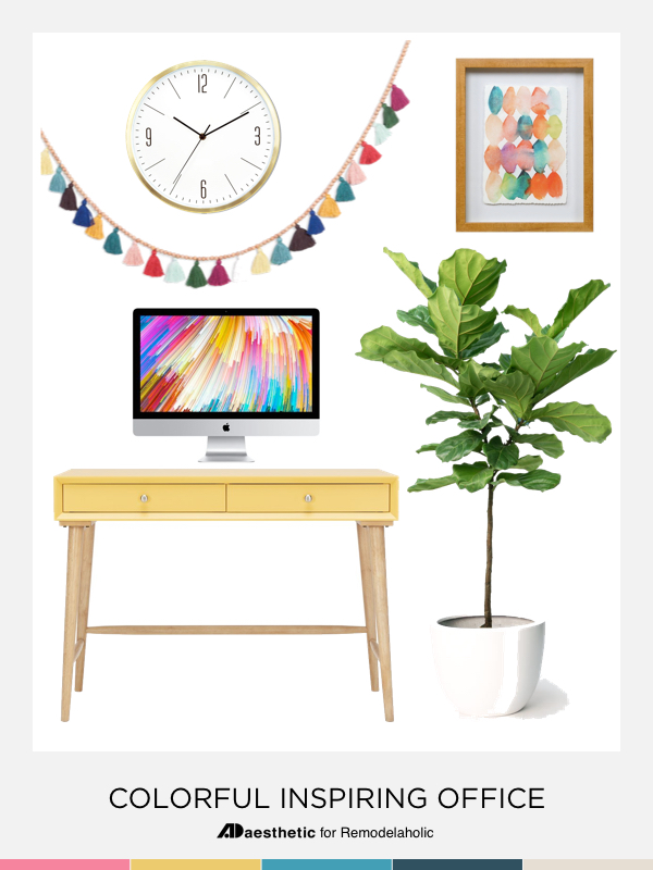 remodelaholic chic and inspiring colorful home office decor