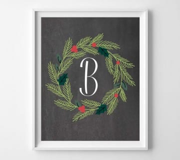 Free Printable Christmas Wreath Monogram Set (plus 2 bonus wreaths!)