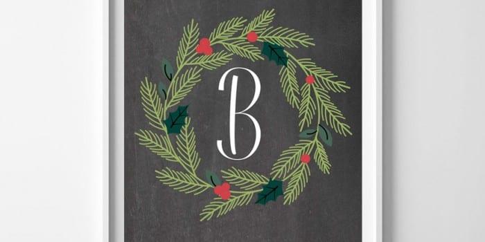 Free Printable Christmas Wreath Monogram Set (plus 2 bonus wreaths!)