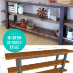 Build A Farmhouse Modern DIY Console Table With Shelves, Woodworking Plans, Remodelaholic