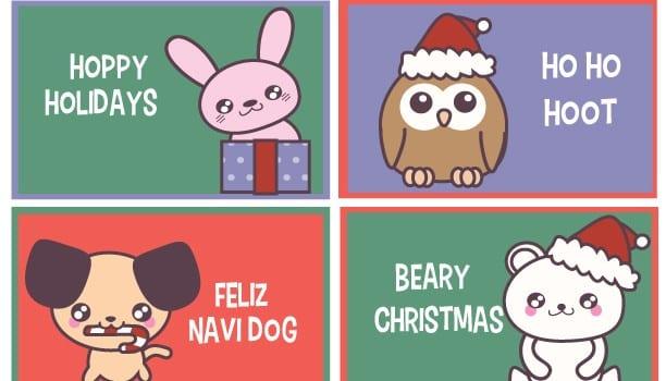 Free Printable: Funny Christmas Animal Lunch Box Notes