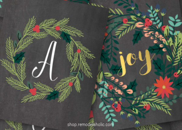 Christmas Monogram Printable Letter Wreath And Holiday Joy Wreath Art Prints Remodelaholic