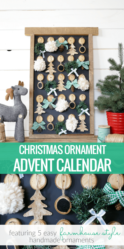Easy DIY Farmhouse Style Christmas Ornament Advent Calendar @Remodelaholic