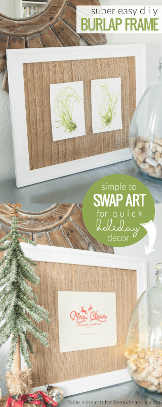 Easy DIY Burlap Frame Mat For Photos And Art | Quick Change Holiday Decorating | Casual Coastal Decor | Rustic Modern Decor