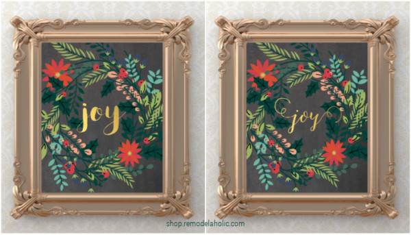 Holiday Joy Wreath Christmas Printable Decor Or Gift Idea, Remodelaholic