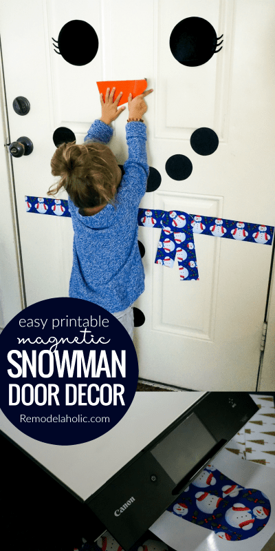 Do you want to build a snowman? It's easy to build again and again with this free printable snowman decor set, printed on magnetic paper for easy rearranging. Perfect for your front door or fridge door, or for a classroom door or bulletin board.