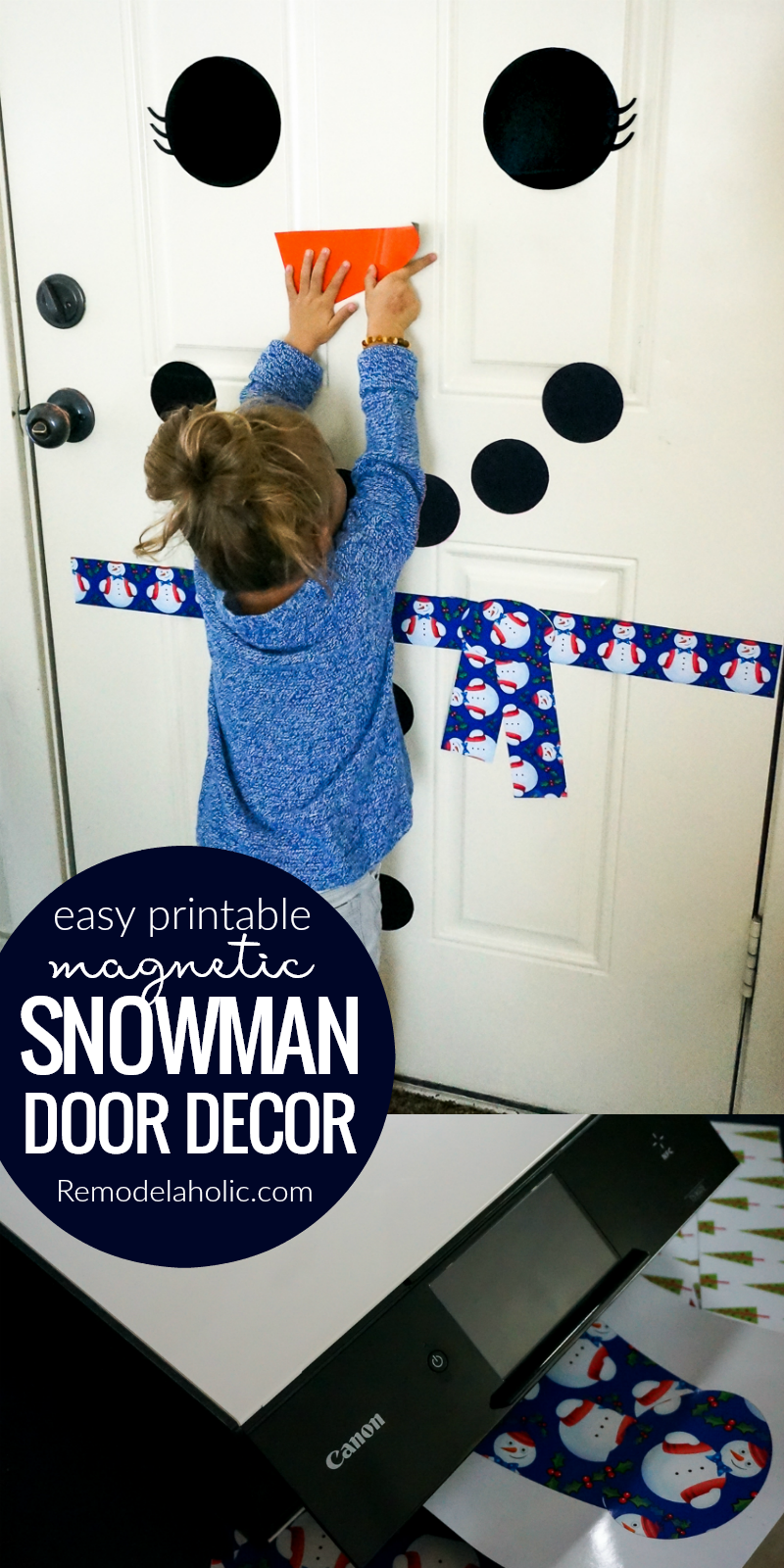 Do you want to build a snowman? It\u0027s easy to build again and again with & Remodelaholic | Free Printable Snowman Door Decorating Kit