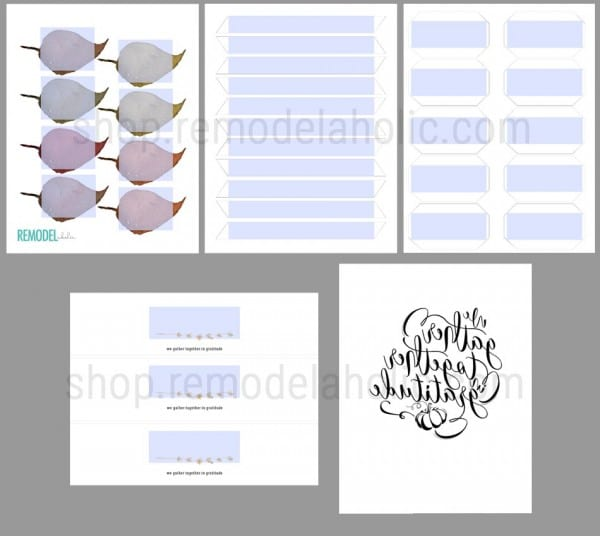Thanksgiving Printable Placecards With Custom Names, Page Preview #remodelaholic