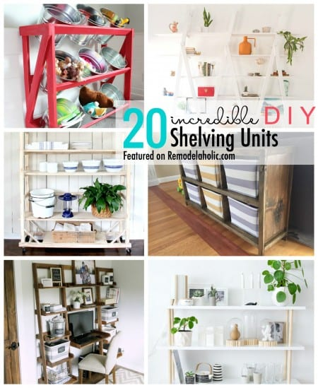 Add some storage space with a wall shelving unite. We are sharing 20 Incredible DIY Shelving Units featured on Remodelaholic.com