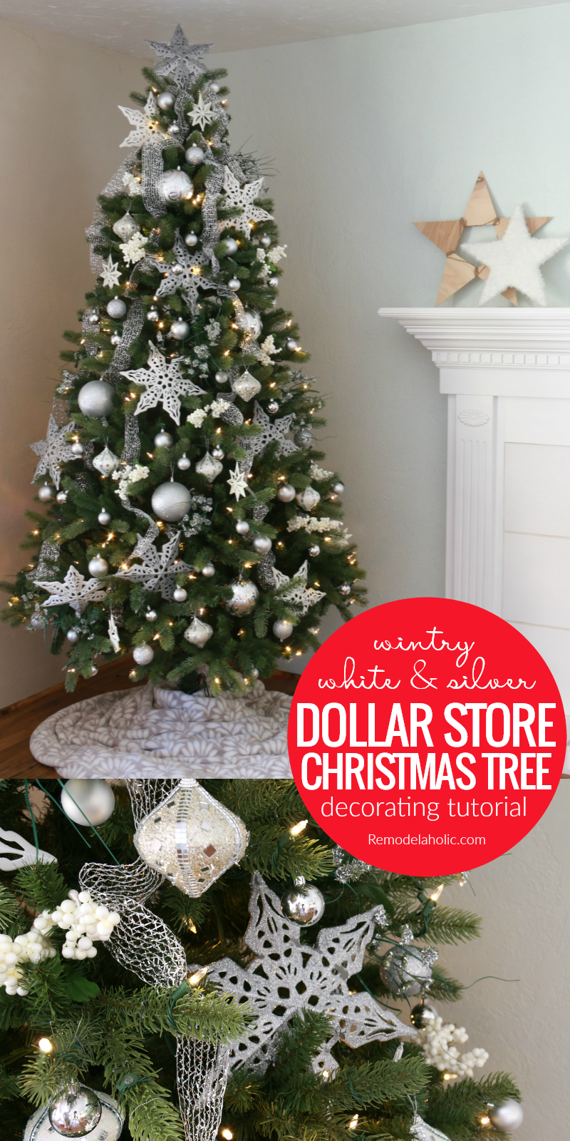 Remodelaholic Dollar Store White And Silver Christmas Tree
