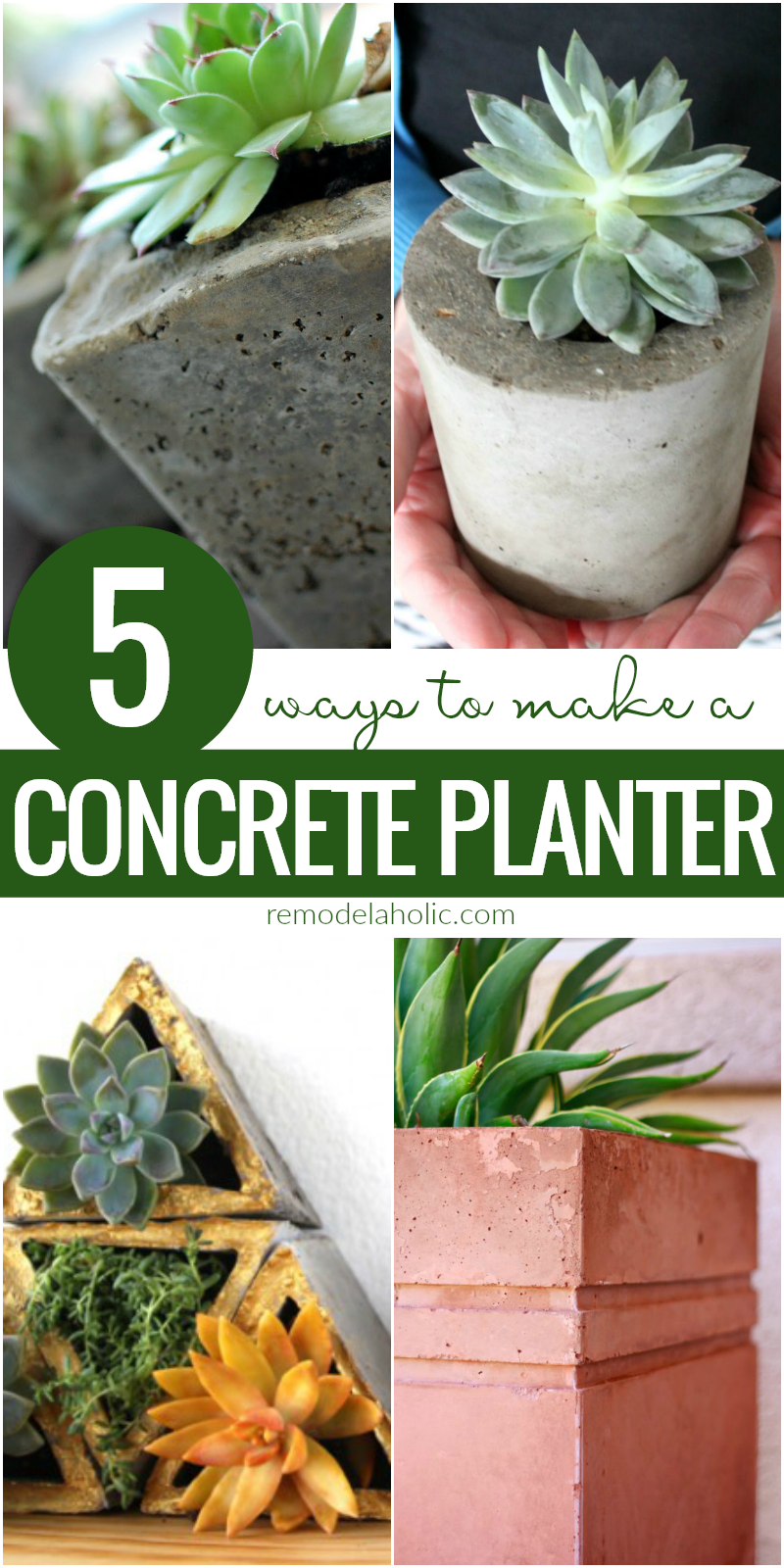 ... 5 Different Ways To Make A DIY Concrete Planter | Learn how to make  your own