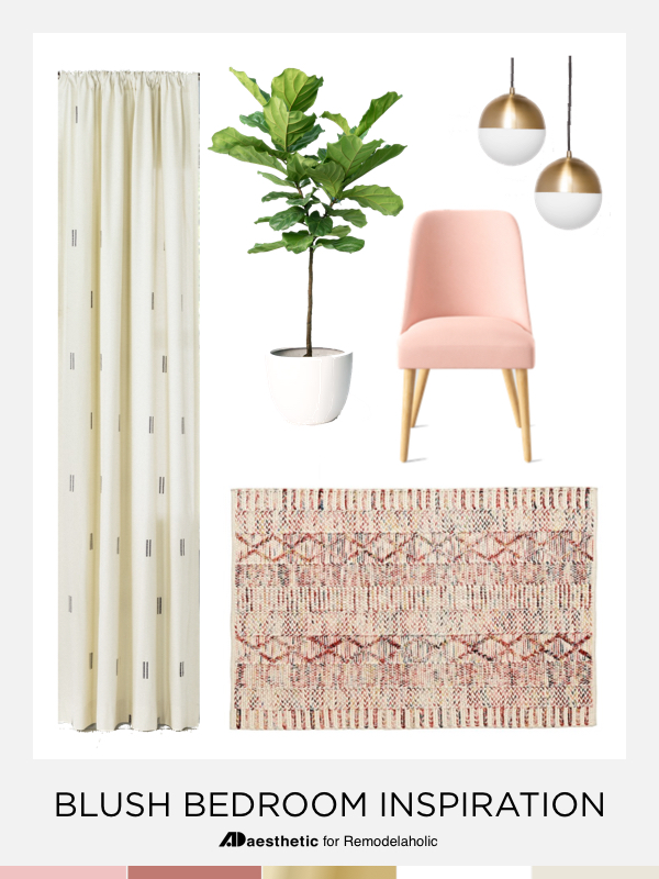 Blush Pink Bedroom Decorating Ideas | Mood board, decorating ideas, and tips for a blush pink bedroom.
