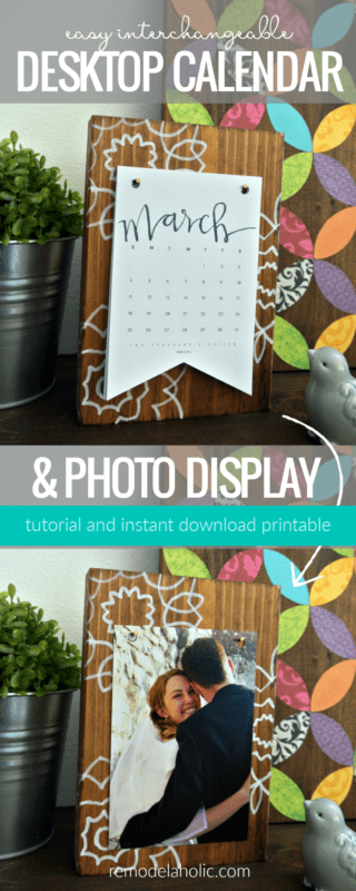 Super simple and affordable last-minute gift idea for the grandparents -- an interchangeable desk calendar and photo display! Get the tutorial and printable calendar set at Remodelaholic.com. Easy gift idea for friends, neighbors, coworkers, and teachers, too. #remodelaholic