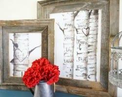 Free Printable Gift Idea, Custom Carved Birch Tree Print Set 2 @Remodelaholic