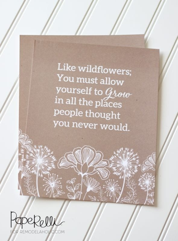 Free Printable Gift Idea, Inspirational Wildflower Quote @Remodelaholic