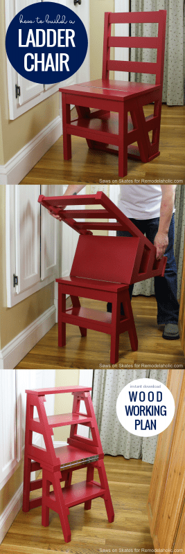 Ladder Chair Woodworking Plan, How To Build A Ladder Chair Stepstool #remodelaholic
