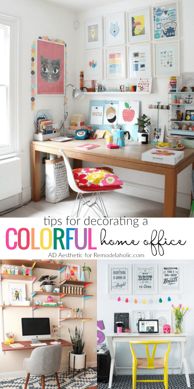 Tips For Decorating A Colorful Home Office @Remodelaholic