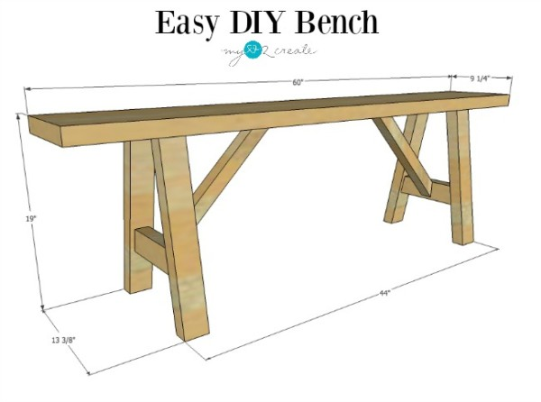 Final Dimensions, Easy DIY Wood Bench Plans, MyLove2Create