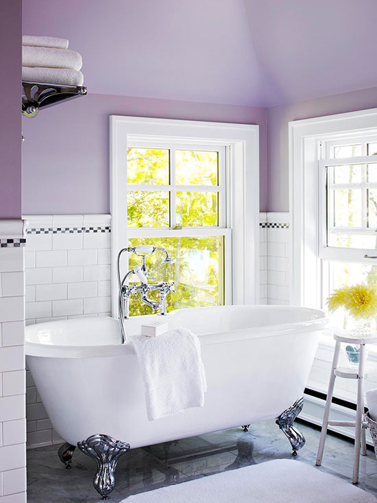 Pale Purple Bathroom Via BHG