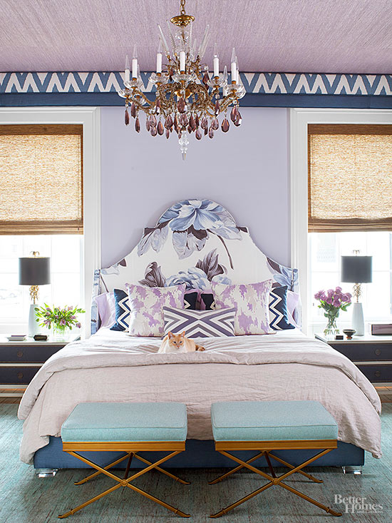 Purple Patterned Bedroom Via BHG