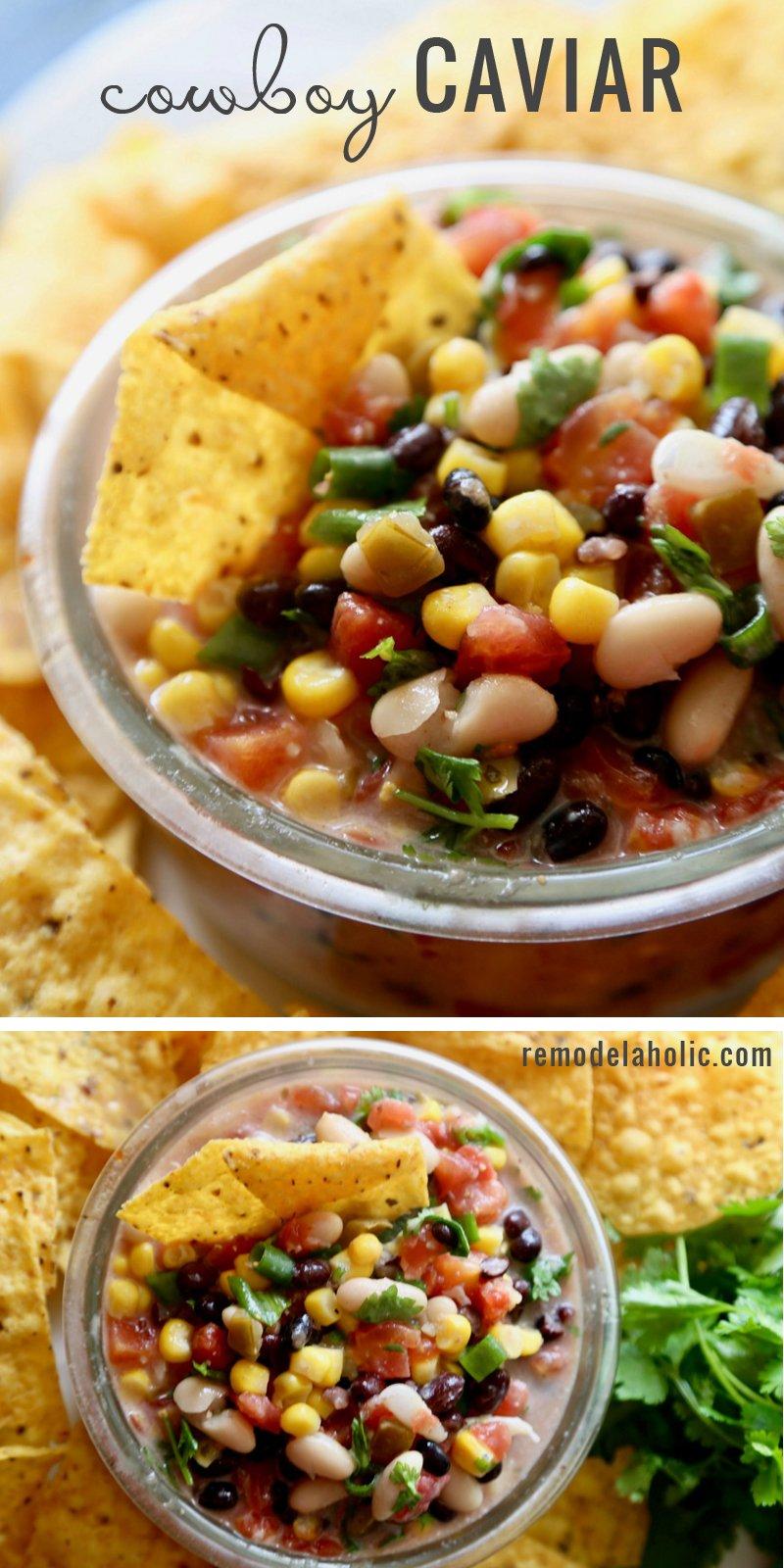 Perfect dip for a party! Try this Cowboy Caviar Recipe via Remodelaholic.com